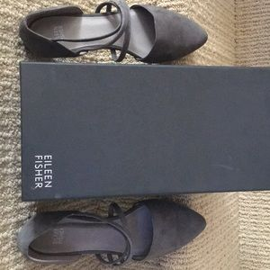 Eileen Fisher Dear Strappy Flat - Graphite Leather